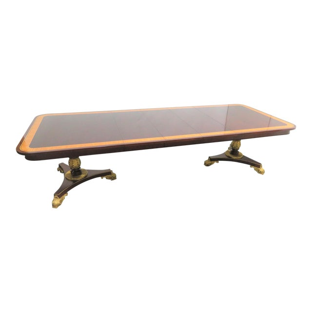 Regency Baker Furniture Company Banded Mahogany Dining Table For Sale