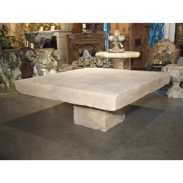 Large Limestone Coffee Table From Provence, France For Sale - Image 10 of 12