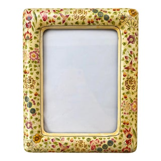 Yellow Floral Laquered Kashmiri Picture Frame For Sale