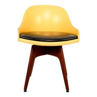 1960s Mod Swivel Chair Solid Walnut Wood Original Yellow & Black Naugahyde For Sale