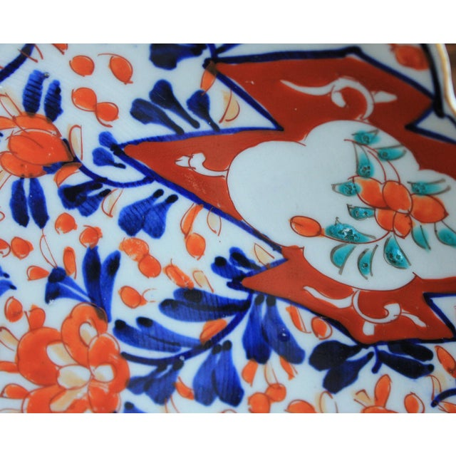Ceramic Antique 19th Century Imari Bowl Serving Dish Plate Charger Japan For Sale - Image 7 of 12