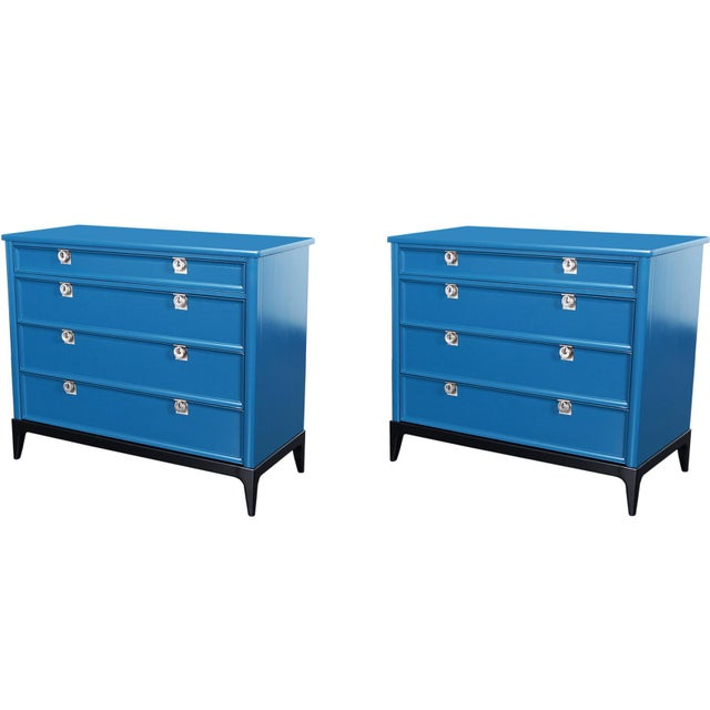 Blue Vintage Lacquered Chest of Drawers For Sale - Image 8 of 8