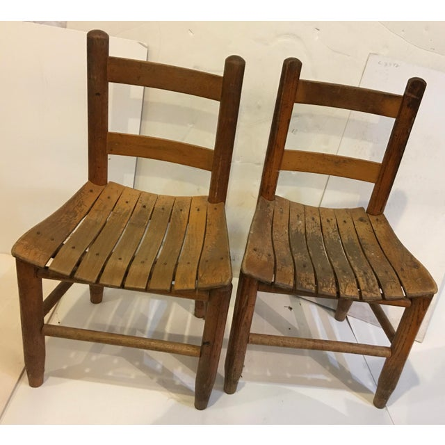 Brown Vintage Rustic Children Chairs - a Pair For Sale - Image 8 of 8