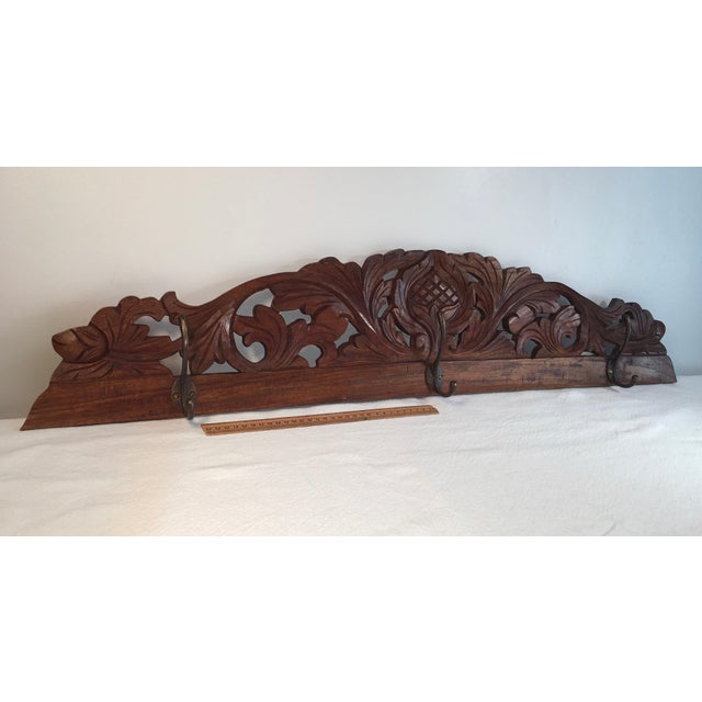 Antique Hand Carved Wall Coat Rack - Image 6 of 8