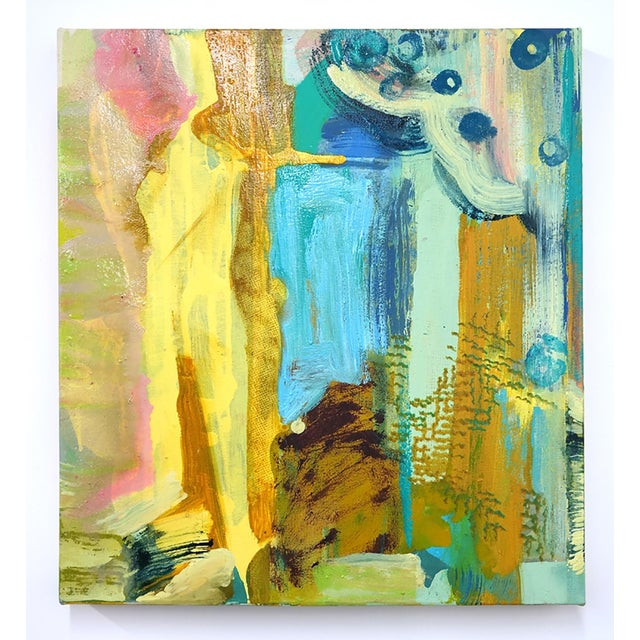 """Molly Herman Molly Herman """"Tremolo"""" Yellow Abstract Painting For Sale - Image 4 of 4"""