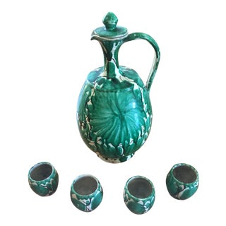 1920s Folk Art Green Ceramic Tequila Decanter