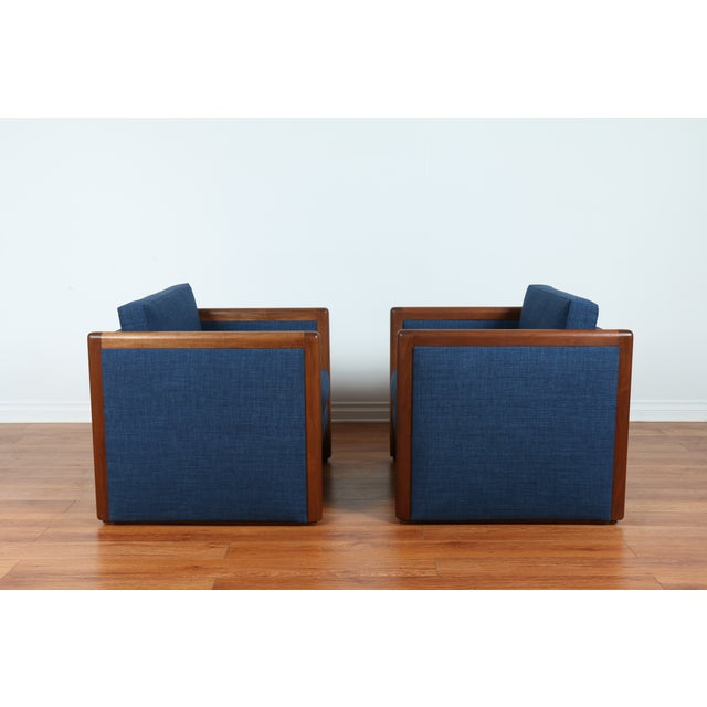 Navy Blue Mid-Century Club Chairs- A Pair - Image 7 of 10
