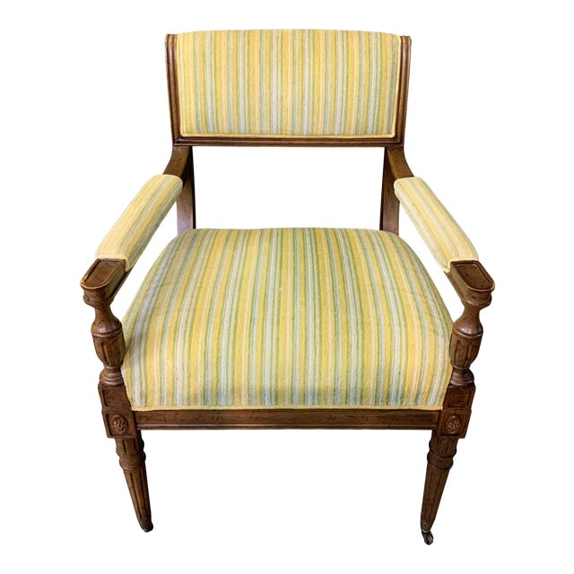 Mid-Century Walnut and Striped Upholstered Drexel Chair For Sale
