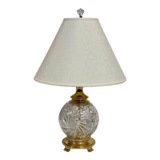Vintage Kusak Berlin Cut Crystal & Brass Rose Bowl Table Lamp For Sale