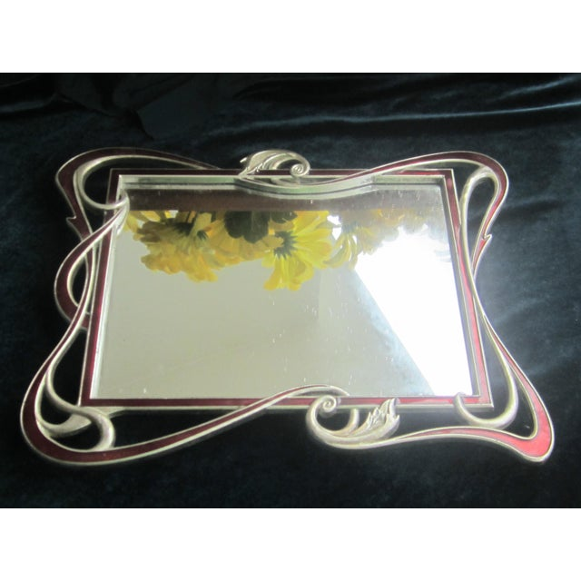 Stunning red enamel details with mirror insert. mirror insert can be changed. Art Nouveau style in silver base metal. No...