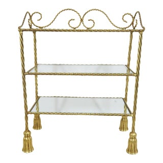 Hollywood Regency Gold Gilt Tassel Shelf For Sale