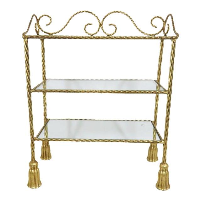 Hollywood Regency Gold Gilt Tassel Shelf For Sale