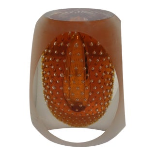 Mid-Century Modern Murano Paper Weight Controlled Bubbles Encalmo Method Amber For Sale