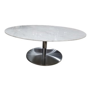 Carrara Marble Round Cocktail Table For Sale