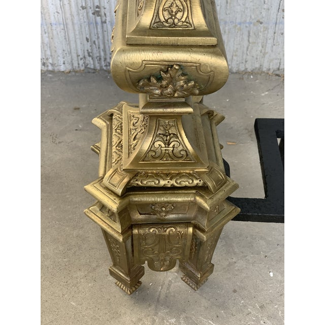 Metal 19th Century Set of Antique Andirons or Firedogs in Bronze and Iron For Sale - Image 7 of 13