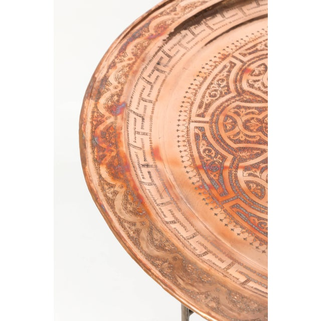 Islamic Moroccan Round Metal Tray Table on Iron Base For Sale - Image 3 of 7