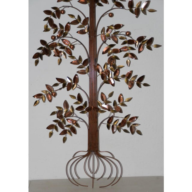 Curtis Jere Copper Toned Metal Tree Sculpture c.1970s Tall and elegant tree sculpture by listed American artist Curtis...