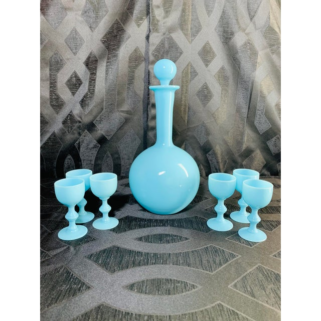 1930s Antique French Blue Opaline Decanter and Cordial Goblets Glassware Portieux Vallerysthal - Set of 7 For Sale - Image 12 of 13