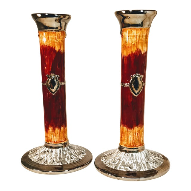 Vintage Haldon Candlesticks Pottery Faux Wood Silver Crest Candle Holder -a Pair For Sale