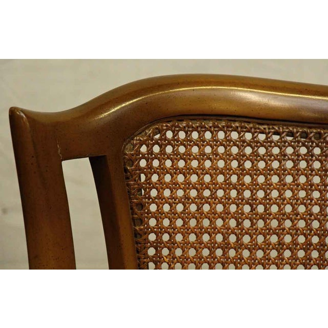 Fabric Upholstered Wicker Back Chairs - A Pair For Sale - Image 7 of 10