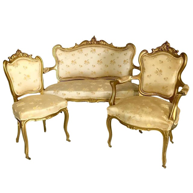 Antique French Louis XV Style Carved Gold Gilt Rolling Parlor Set - 3 Pieces - Image 1 of 10