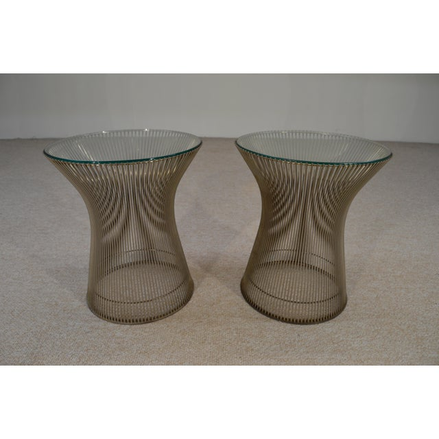 Warren Platner for Knoll Nickel & Glass Side Tables - A Pair - Image 4 of 5