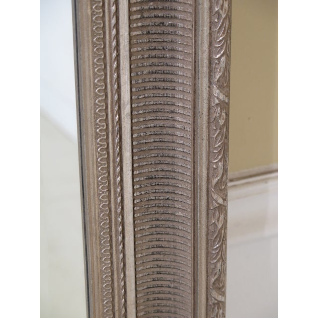 Tall Rectangular Silver Decorated Framed Beveled Glass Mirror For Sale - Image 4 of 6