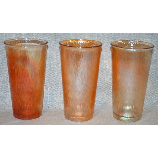 1960s Jeannette Marigold Tree Bark Pitcher and Glasses Set For Sale - Image 5 of 8