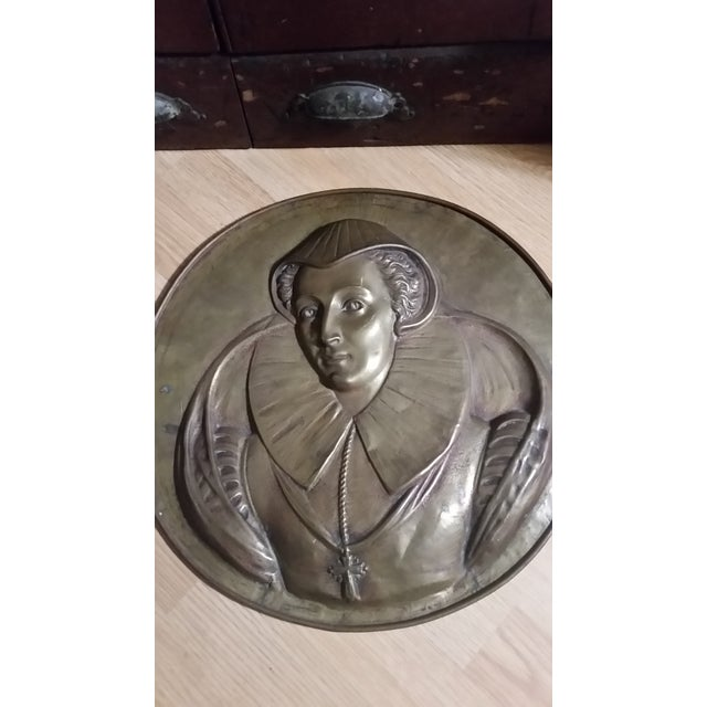 Vintage Mary Queen of Scots Bronze Decorative Hanging Plate For Sale - Image 4 of 8