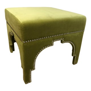 Modern Square Green Velvet Ottomans With Nailhead Trim For Sale