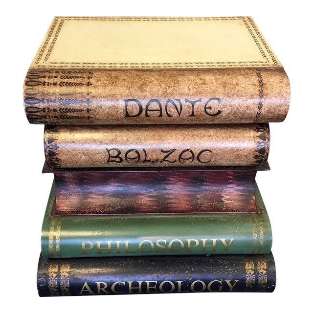 Italian Tole Stacked Books Painted Metal Side Table For Sale