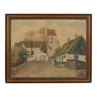 Traditional Danish Church With Mossy Roof Landscape For Sale