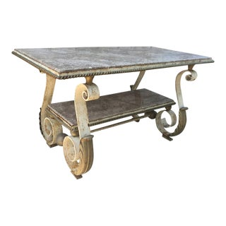 Scrolled Forged Iron Table after Gilbert Poillerat For Sale