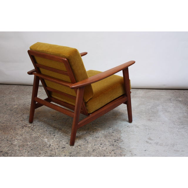 Textile Danish Modern Reclining Lounge Chair in Ochre Mohair For Sale - Image 7 of 13