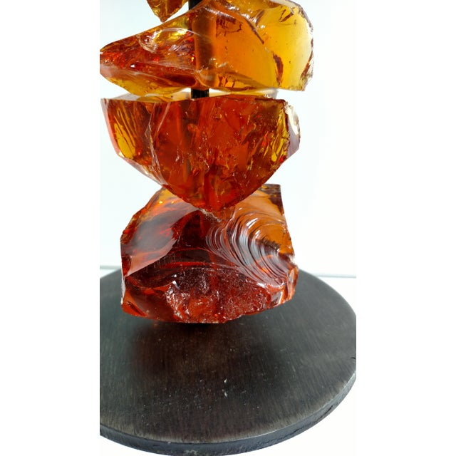 Murano Amber Glass Candlestick For Sale In Miami - Image 6 of 7