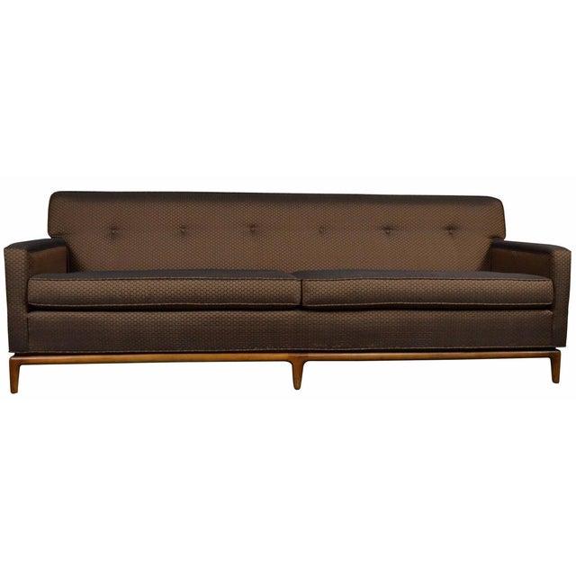 Mid-Century Tufted Tuxedo Sofa on Walnut Base - Image 1 of 10