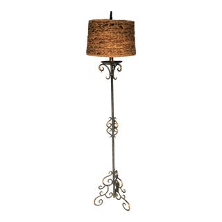 Vintage Metal Floor Lamp With Wicker Shade For Sale