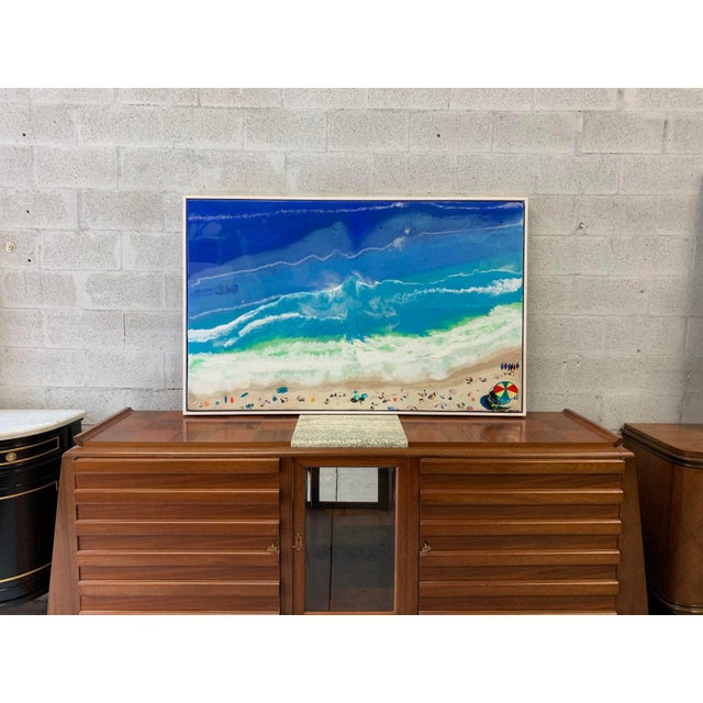 Monumental abstract oil painting Framed with resin on canvas. The ocean and beach and people. Beautiful color and design,...