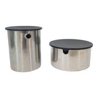 Stelton Stainless Steel Sugar and Creamer Set by Erik Magnussen - Set of 2 For Sale