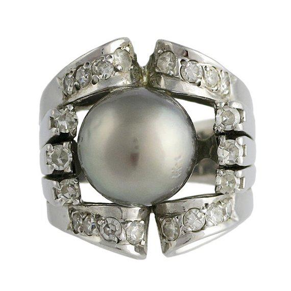 Contemporary Vintage 18k White Gold Silver South Sea Pearl Diamond Ring For Sale - Image 3 of 3