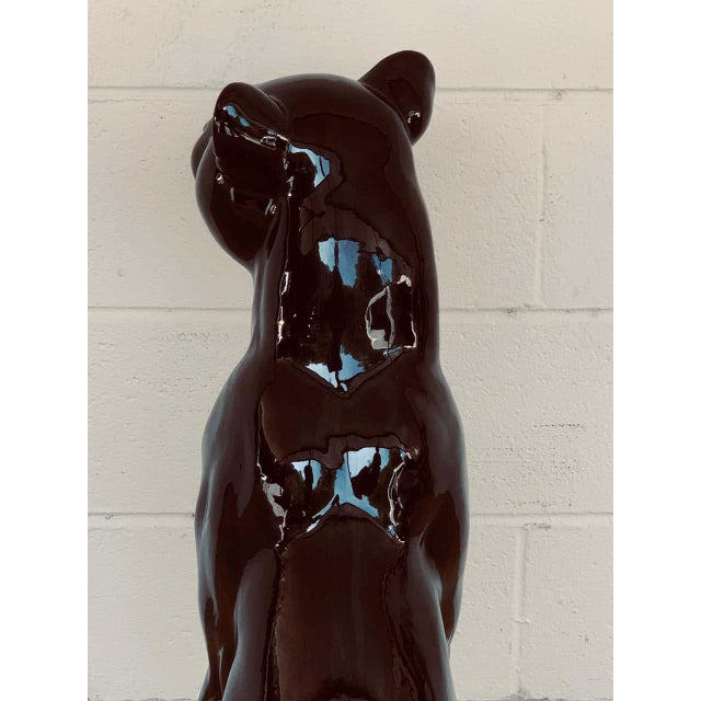 Pair of Italian Porcelain Seated Black Panthers For Sale - Image 9 of 12