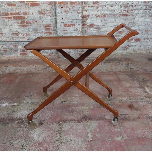 Danish Modern 1960s Danish Mid-Century Modern Teak Serving Bar Cart For Sale - Image 3 of 9