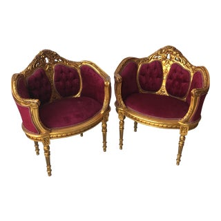 Red Velvet Tufted Chairs - A Pair For Sale