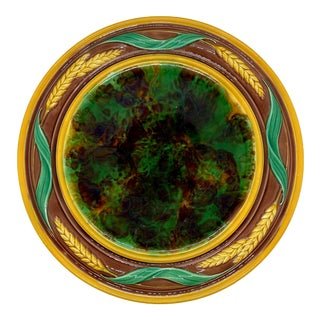 Majolica Round Bread Platter With Mottled Center and Wheat, English, Ca. 1875 For Sale