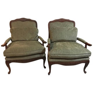Pair of Oversized Louis XV Style Fauteuils or Lounge Chairs by Lexington For Sale