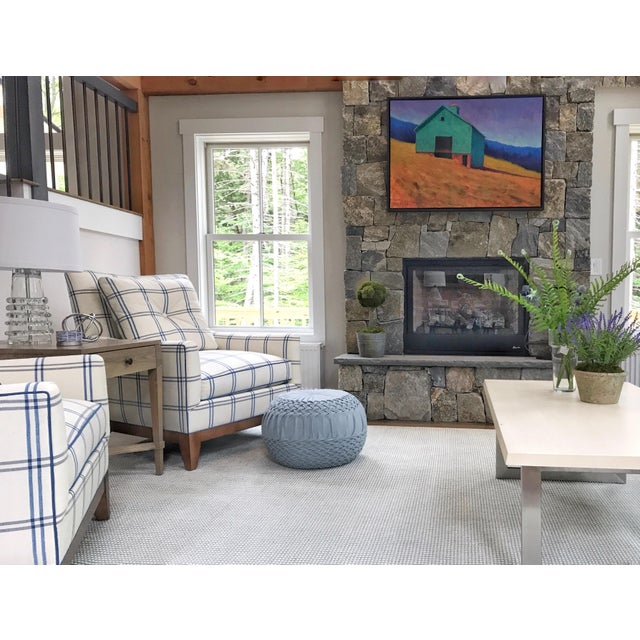 Gorgeous custom lounge chairs crafted for Cottages & Bungalows Magazine 2019 Project House. Spring-down cushions, plush...