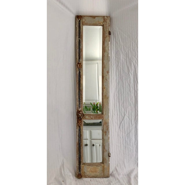 Blue Antique Provence Shutter W/Beveled Mirror For Sale - Image 8 of 8