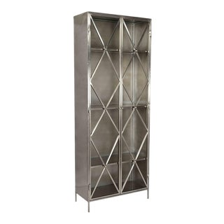 Nickel Finish Glass Cabinet For Sale