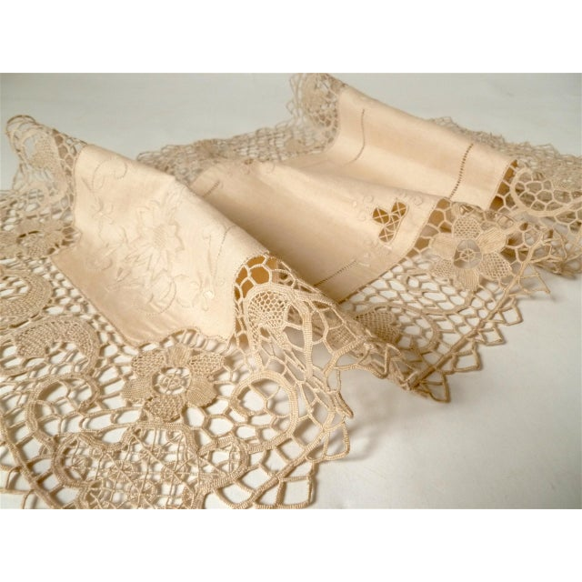 Antique Arts and Crafts Lace Embroidery Table Runner For Sale - Image 4 of 7