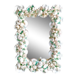 Contemporary Coastal Custom Shell and Sea Glass Mirror For Sale